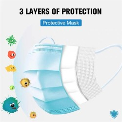 Breathable Disposable 3-Ply Protective PPE with Nose Clip and Ear Loops